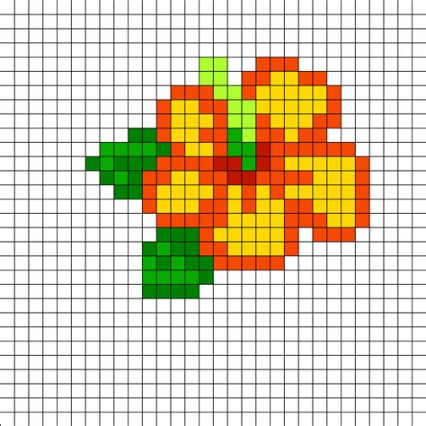 easy perler bead ideas hibiscus perler bead pattern bead sprites simple fuse