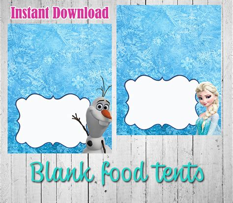 printable frozen table cards 7 best images of free frozen printable food tents disney
