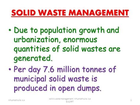 Solid Waste Management Nihumathulla K A Authorstream Waste Management Powerpoint Template