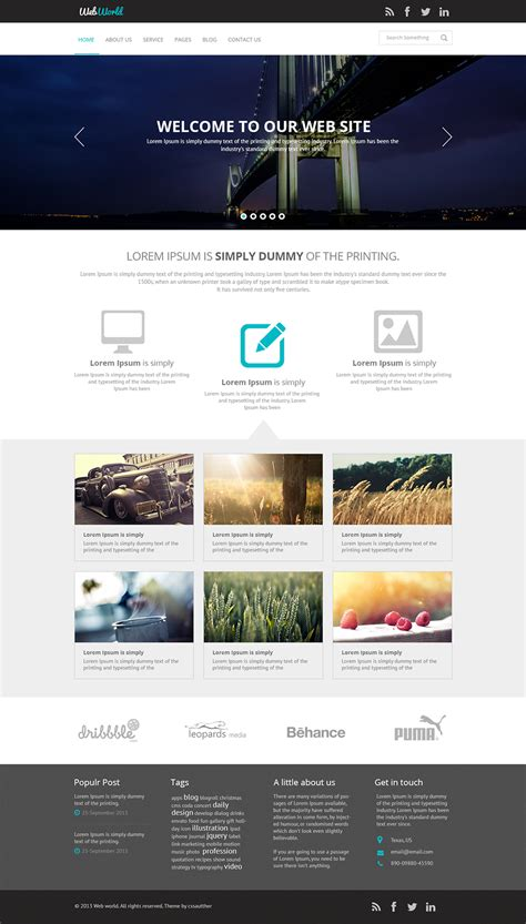 free homepage template free business web template psd css author