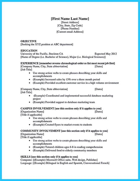resumes exles best current college student resume with no experience
