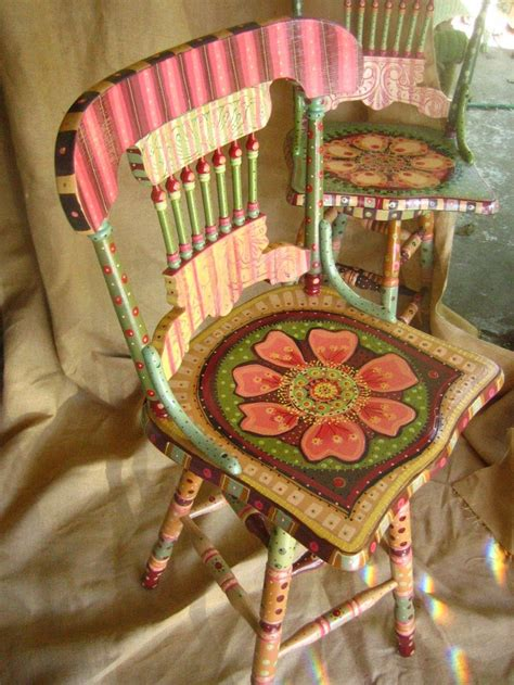 painted wooden chairs painted chair pintura