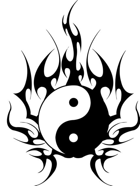 tattoo yin yang tribal yin yang dragons design
