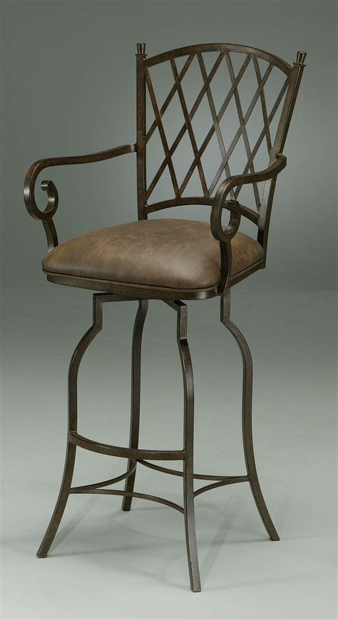 furniture wrought iron swivel bar stool with back and furniture black iron bar stool with arm and back also