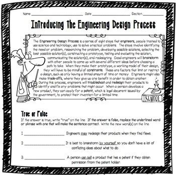 introducing  engineering design process worksheet  adventures  science
