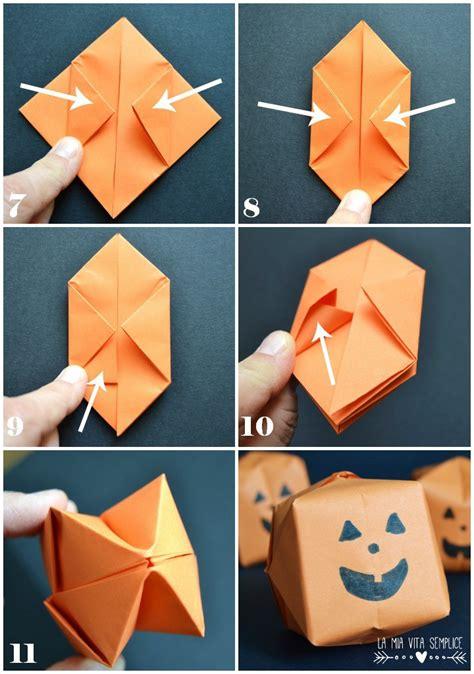 tutorial origami semplici come fare la zucca origami di halloween la mia vita semplice