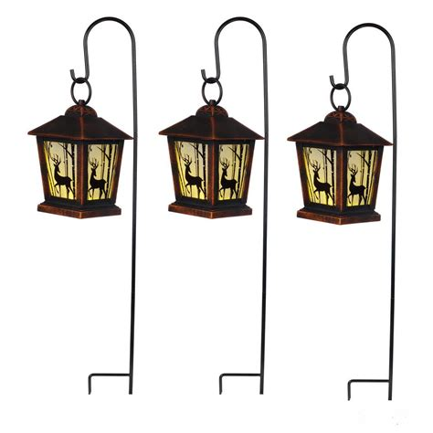 pathway christmas yard candles home accents 27 in reindeer lantern pathway markers with sheppard s hook set