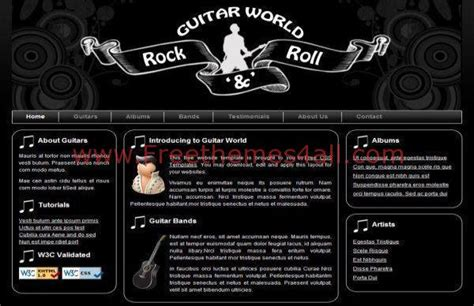 Free Rock Band Css Template Download Rock Band Web Template
