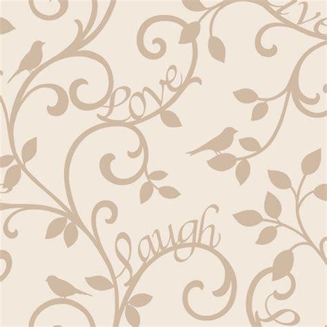fine decor  love laugh scroll wallpaper cream gold