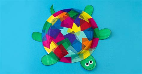 And Craft With Tissue Paper - tissue paper and paper plate turtle craft