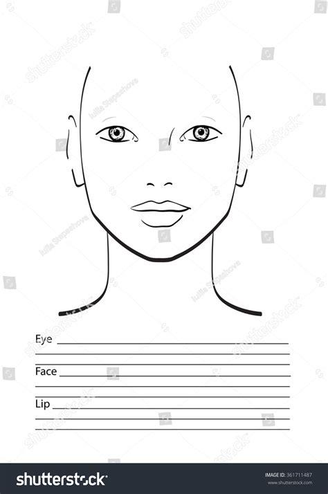 blank makeup template chart makeup artist blank template stock vector