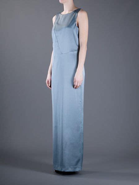 Maxi Armani Denim Bordir S8u7 emporio armani maxi dress in blue grey lyst