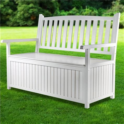 white patio bench high back white wooden outdoor garden storage bench