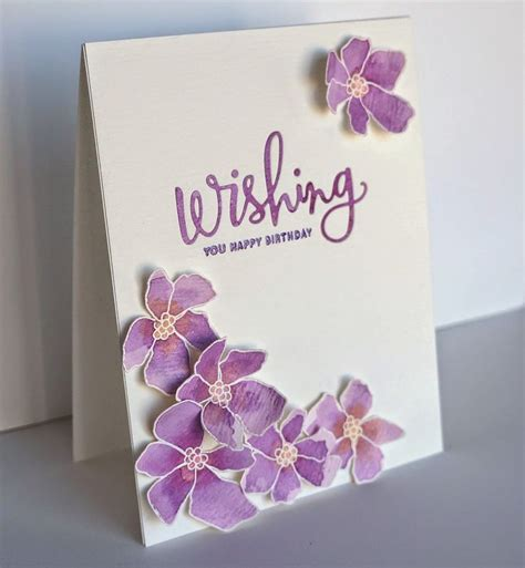 Handmade Birthday Card Design - artful flowers are sted and cut on watercolor paper to
