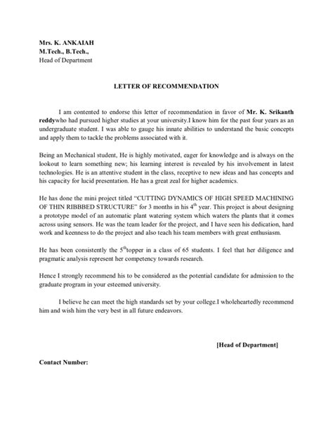 Recommendation Letter Format For Ms In Us Letter Of Recommendation By Hod