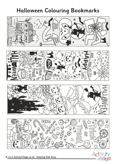 printable bookmarks activity village halloween doodle colouring bookmarks