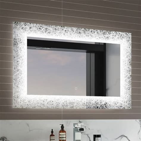 designer bathroom mirror frameless light up beauty lighted wall mount designer