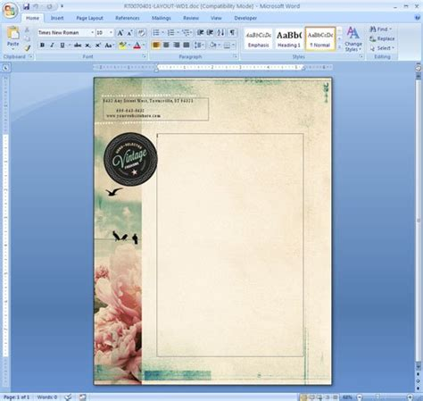 layout word free how to repeat a logo and address on each page of your