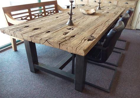 robuuste eettafel met staal robuuste eiken tafel specialist in teak maatwerk