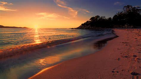 sea sunset beach sunlight long exposure  hd nature