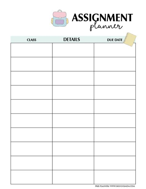 printable assignment organizer free assignment planner for kids and teens fun and cute