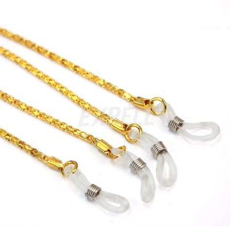 2pcs fashion gold eyeglasses necklace chain cord reading