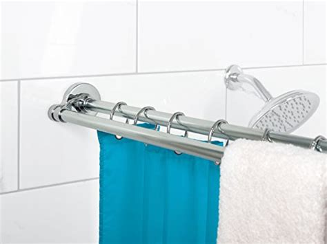 double tension shower curtain rod zenna home 36602ss neverrust aluminum double tension