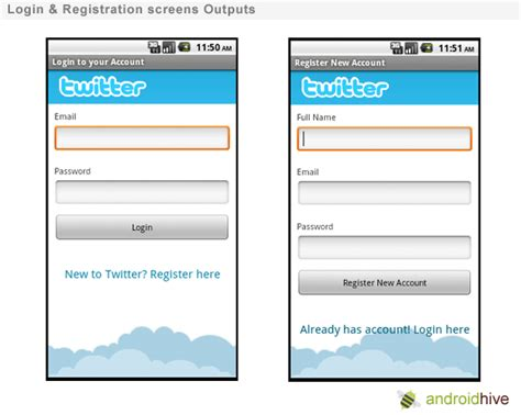 login layout xml android login and registration screen design