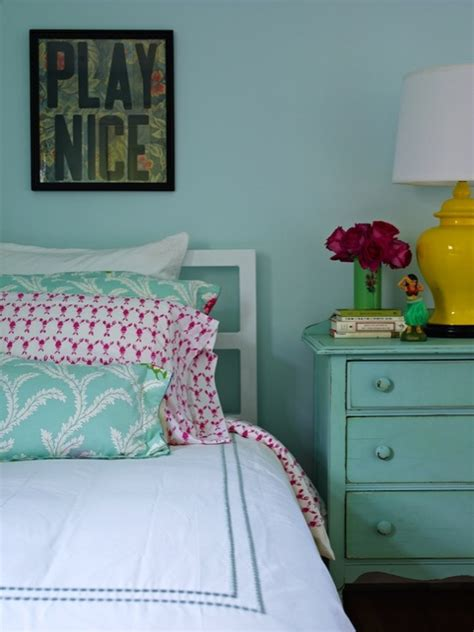 Pink And Turquoise Bedroom by Turquoise Nightstand Cottage S Room
