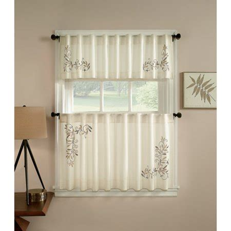 CHF & You Scroll Leaf Kitchen Curtains, Set of 2   Walmart.com