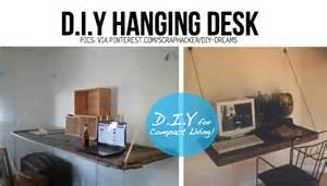 diy hanging desk put your stuff up in the air hanging diy ideas tutorials