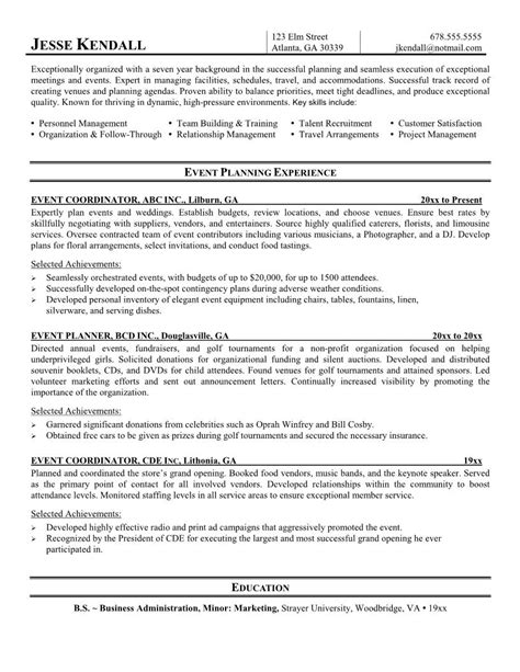 Event Management Description Resume special events coordinator resume exle 2016