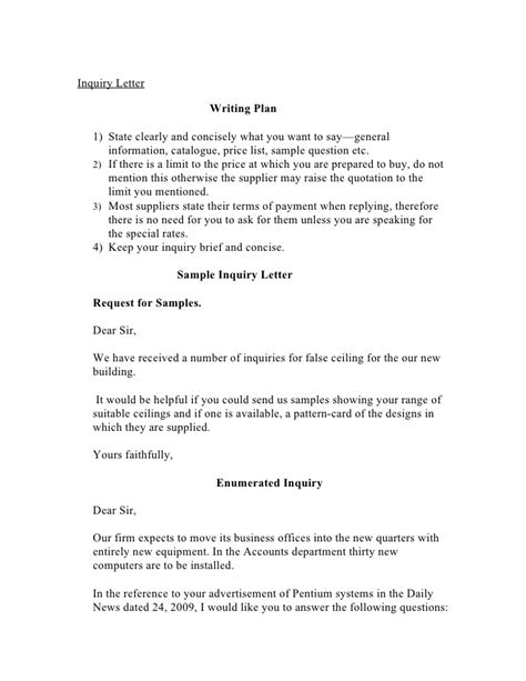 Inquiry Letter Sle Pdf Letter Of Inquiry Sle Inquiry Letter For Sales Report
