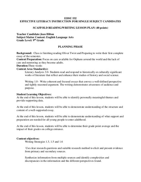 532 Scaffold Lesson Plan Scaffolding Plan Template