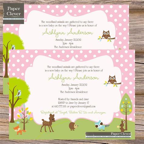 printable animal baby shower invitations pink woodland baby shower invitation for girls classic