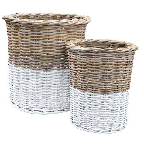 rattan baskets grey white rattan tall round storage basket