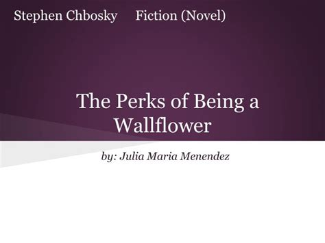 perks of being a wallflower book report ppt the perks of being a wallflower powerpoint