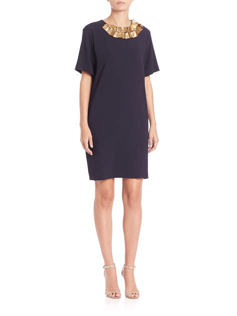 Dress Of The Day Embellish Shift Dress by Dkny Embellished Shift Dress In Blue Lyst