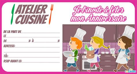 atelier de cuisine enfant invitation anniversaire atelier cuisine 123 cartes