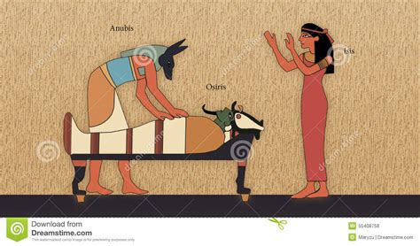 Egyptian Wall Mural resurrection of osiris stock illustration image of wall