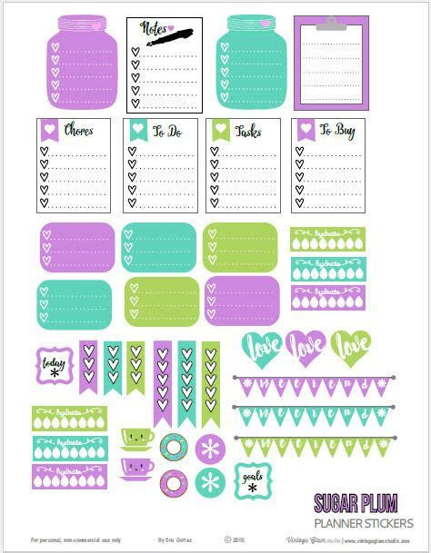 printable planner free pinterest free sugar plum planner stickers free printable by