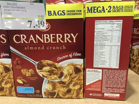 Post Cranberry Almond Crunchpost Cereal post cranberry almond crunch costco