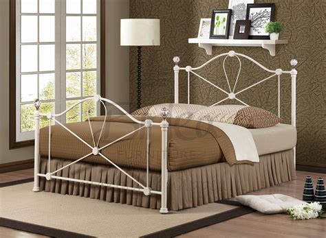 modern metal bed jasmine crystal cream finish double app 4ft6 135cm