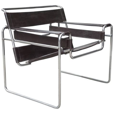 vintage marcel breuer wassily chrome and leather chair at