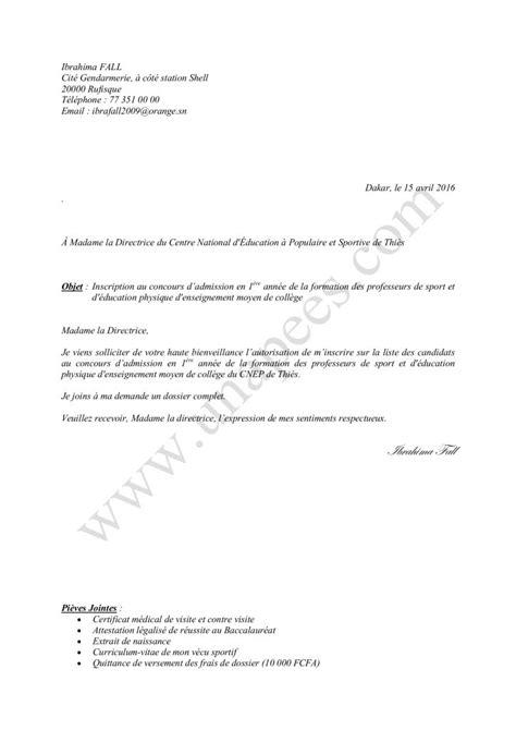 Exemple De Lettre Gagnant D Un Concours Mod 232 Le De Lettre D Inscription 224 Un Concours Unapees
