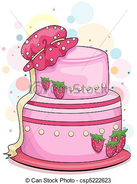 Illustration of a strawberry cake with a baby bonnet on top drawings   Search Clipart