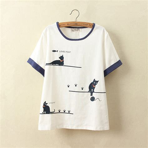 cute pattern shirts mori girl 2016 summer new women cute cat pattern shirt