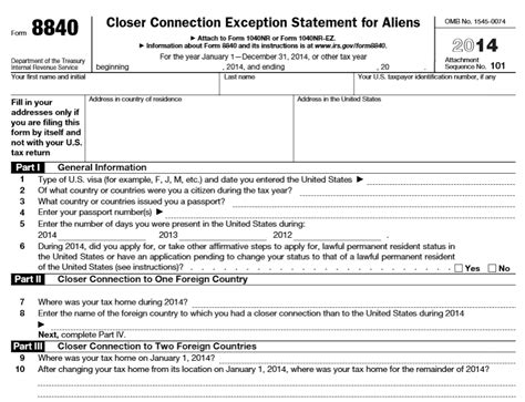 Irs Form 8840 Closer Connection Exception Statement For Www