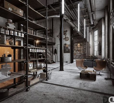 industrial design interior adalah loft living room design with modern industrial style