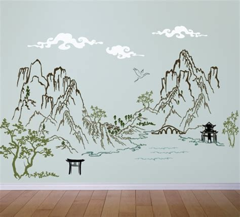Asian Wall Stickers Chinese Asian Ink Landscape Scene Wall Decal Sticker